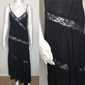 Free People Oversized Black Lace Dress Large